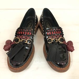 Tods Gomma Gypsy Tassel Loafer sz 38 1/2